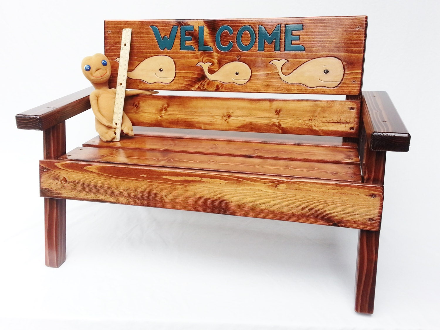 Welcome sign kids outdoor patio bench childrens wood for Outdoor furniture benches