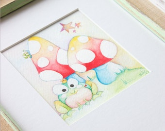 Original Watercolor Painting - Frog Prince Nursery Art - Children's Art - Shabby Chic Art