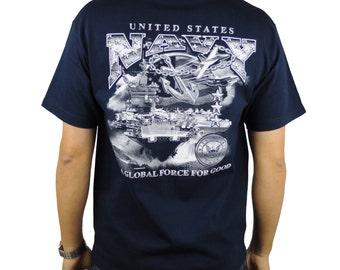 United States Navy T-Shirt Navy Blue Logo Fleet