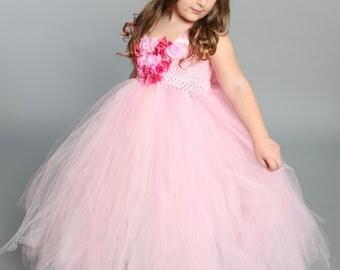 Flower girl dress - tutu dress -tulle dress-Infant/Toddler-Pageant dress-wedding-Princess dress-Pink and white flower dress- Pink tutu dress