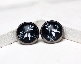 Post earrings, Studs, pattern, black and white
