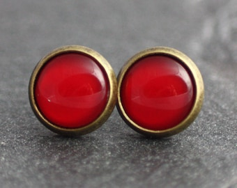 Post earrings, red, bronze, earrings