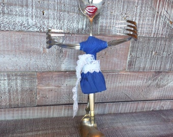 Steampunk Silverware Chef Figurine