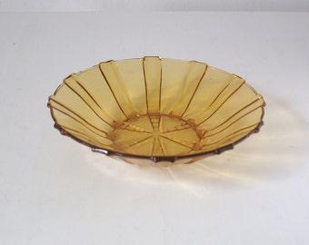 Yellow scandinavian glass bowl, fruit bowl, vintage design
