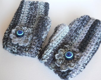 Gloves, Crochet Gloves, Fingerless Gloves, Womens Gloves, Blue Gloves, Grey Gloves, Crochet Flower