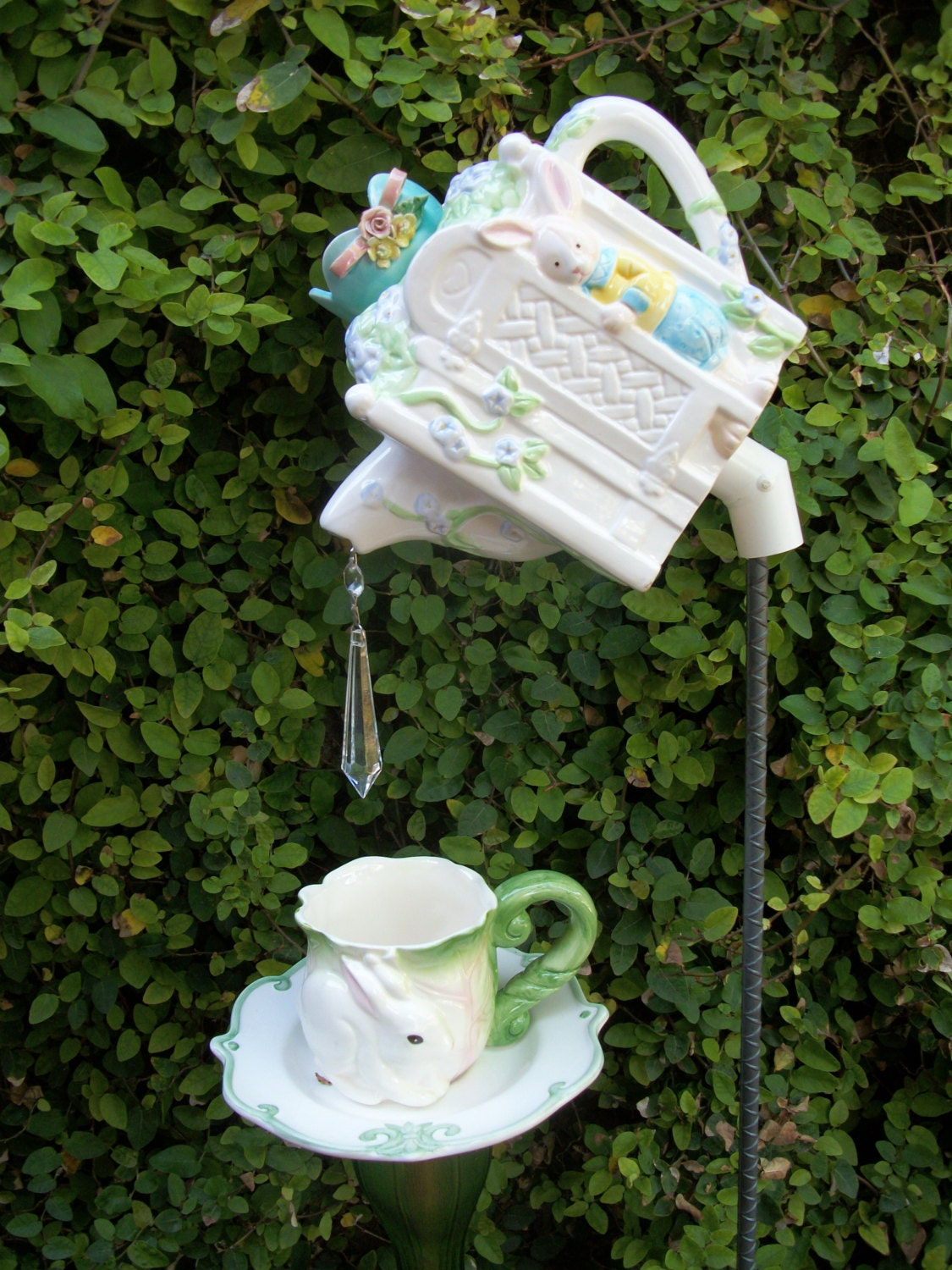 bunny teapot and teacup garden stake set by gardentreasures3. Black Bedroom Furniture Sets. Home Design Ideas