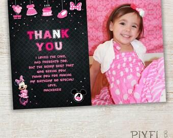 Minnie Mouse Thank You Card, Minnie Thank You, Pink Minnie Mouse, Red Minnie Mouse First Second Third Birthday, Chevron, Polka Dots Confetti