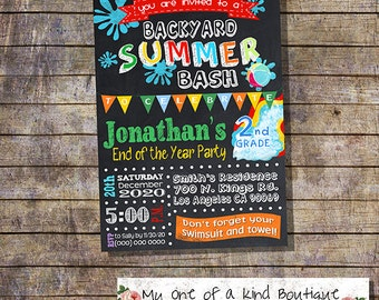 Graduation summer party Bash invitation end of the school year pool party invite chalkboard digital printable invitation you print 13495