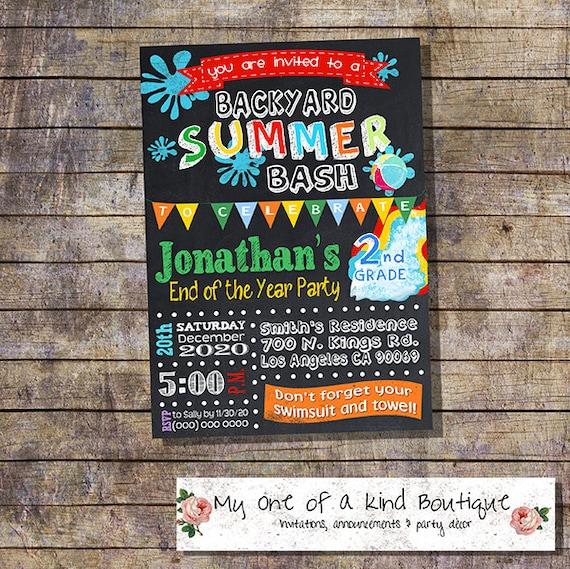 Graduation summer party Bash invitation end of the school year – End of Summer Party Invitations