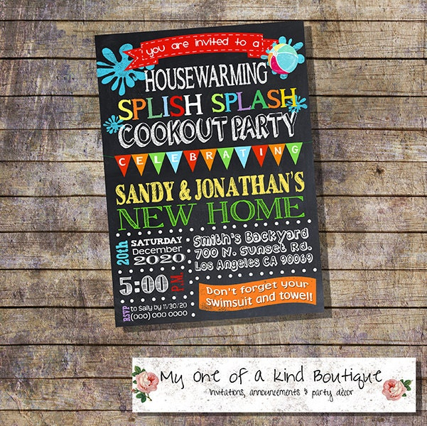 Cookout Pool Party Housewarming Invitation House Warming Bbq
