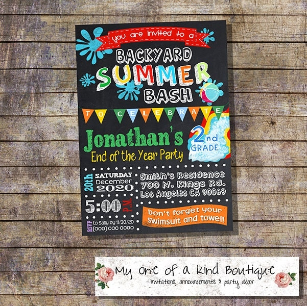 graduation summer party bash invitation end of the school year pool