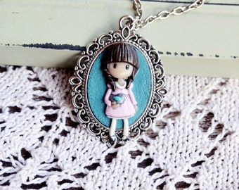 Whimsical Girl Necklace Little doll with bird Blue Light Pink Cute Gift for Teenage girl Polymer clay on Vintage Pendant