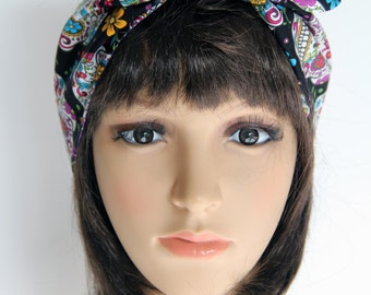 Retro Reversible 50s style Sugar Skulls Hair Wrap. Head Scarf. Bandana . Vintage Style. Great Gift for Girls and Ladies