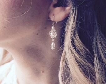 Bridal earrings, Swarovski crystal, pearl wedding earrings, bride jewelry, wedding jewelry, sterling silver bridal earrings, gift for bride