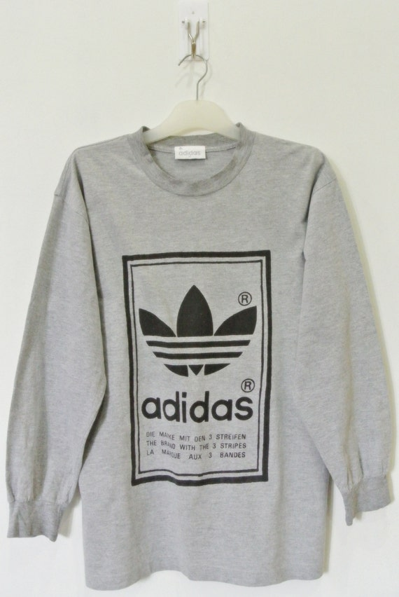 Vintage 90s Adidas Gray Long Sleeve T Shirt Trefoil