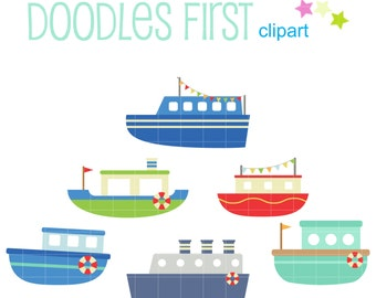 Cute Boats And Ships Digital Clip Art for Scrapbooking Card Making Cupcake Toppers Paper Crafts