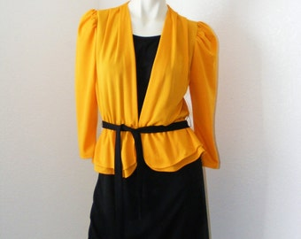 1980s Vintage Yellow and Black Peplum Dress by Especially Yours
