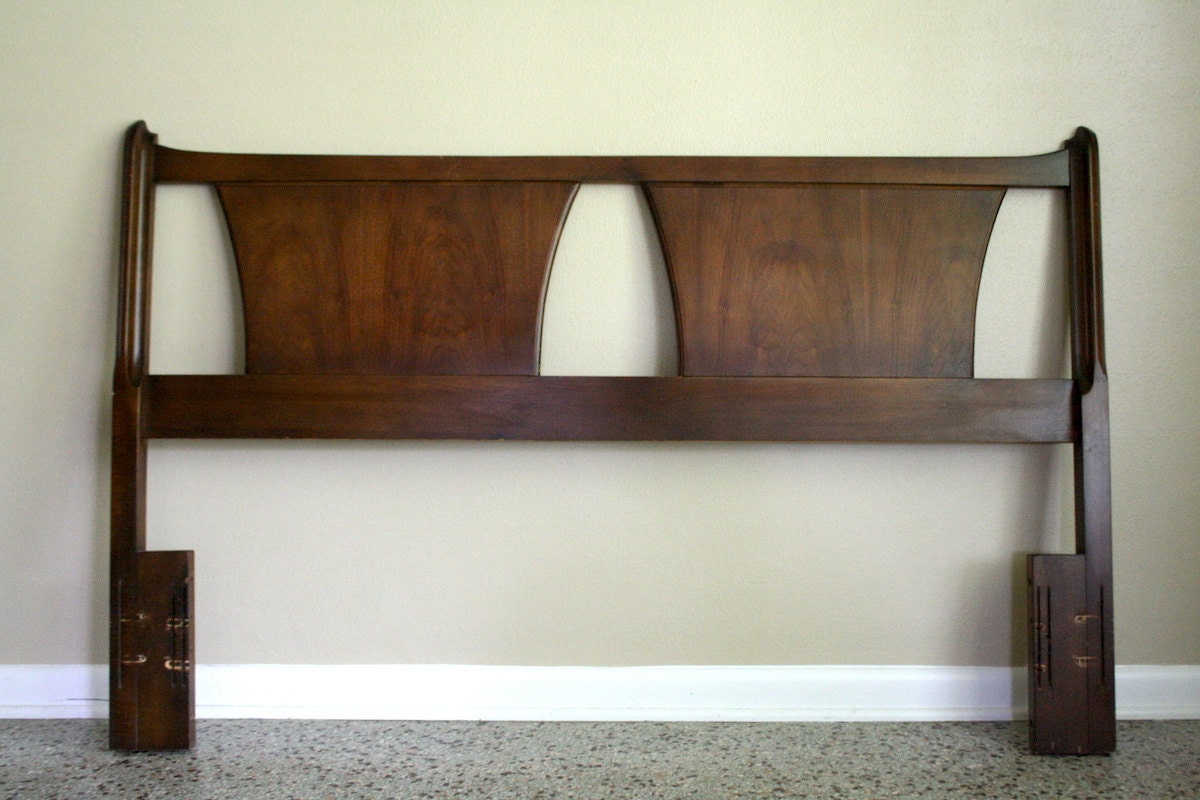 mid century modern queen full headboard vintage danish. Black Bedroom Furniture Sets. Home Design Ideas