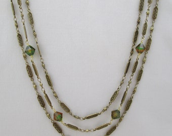Multi-Strand Antique Brass and Swarovski Crystal Necklace