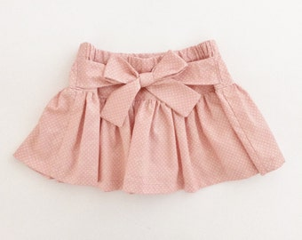 Toddler Girl Skirt, Twirly Skirt With Bow, Pink Polka Dots, Children Kids Clothes, Lolita Fashion, 2T-5T