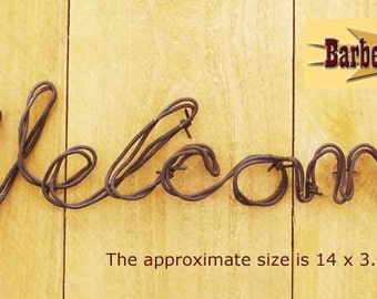 Welcome Sign - Handmade metal decor barbed wire art country western wall sculpture