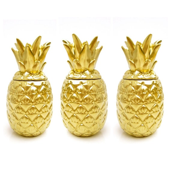 Vtg Gold Pineapple Jar Tropical Chic Ceramic Lidded