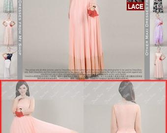 Lace Maxi Dress with Eyelash Finish and Scallop Hem - Pink Lace Prom Dress - Lace Chiffon Dress - White Lace Dress - Black Lace Dress -204