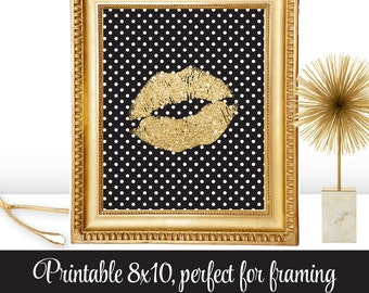 Gold Glitter Kiss Lips Black White Dots - Glam Decor, Gallery Wall Art, Makeup Vanity Print 8x10 Sign Dorm Room Decor - INSTANT DOWNLOAD