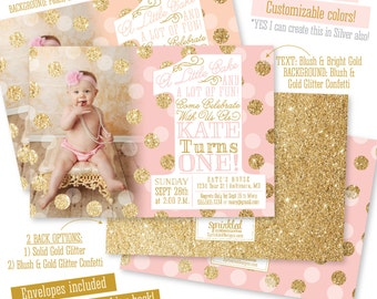 Pink Gold First Birthday Invitation with Photo, BIG ONE 1st Birthday Invitation Girl Photo Invites, Blush Pink Gold Glitter Peach Mint Aqua