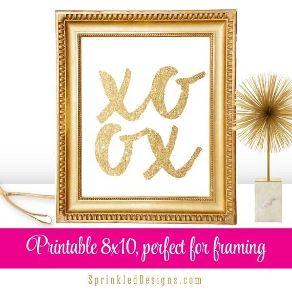 XOXO - Gold Glitter Valentine\'s Day Printable Decor, 8x10 Sign ...