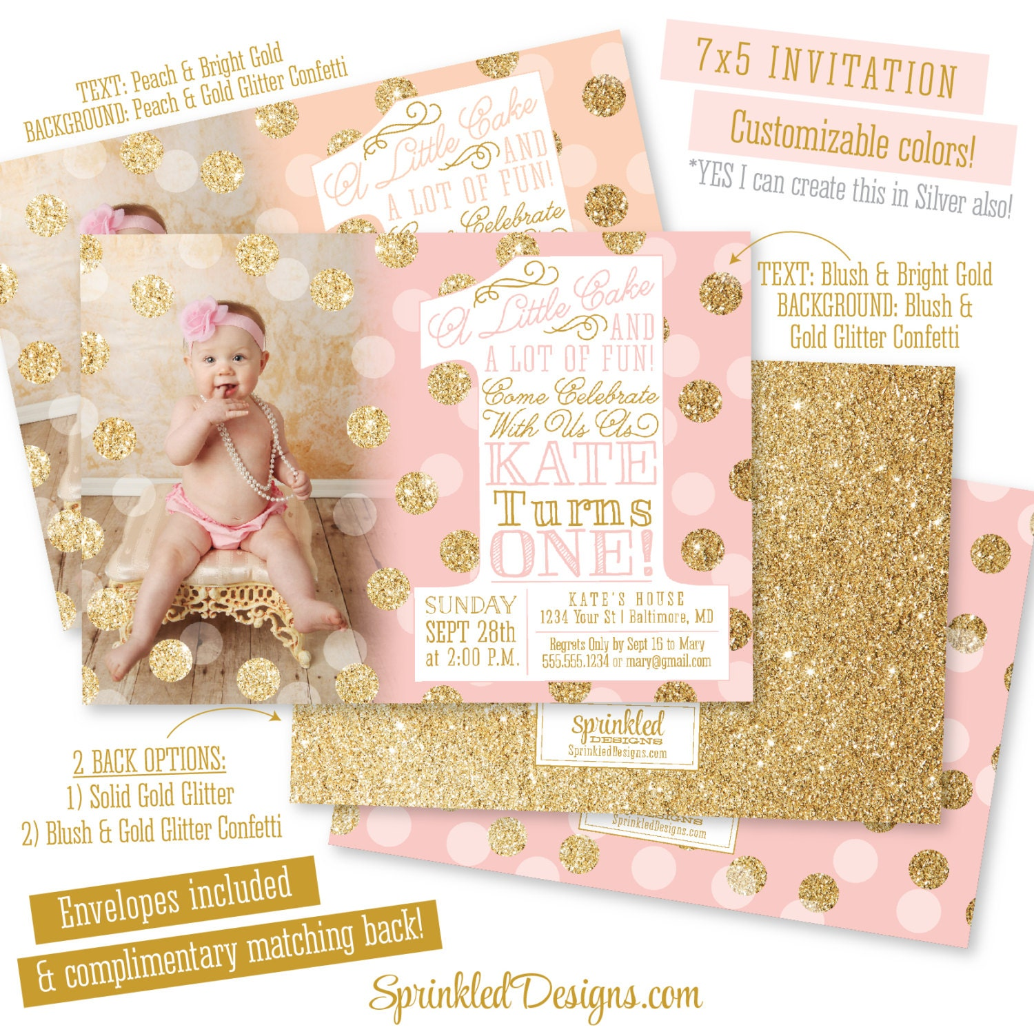 Pink Gold First Birthday Invitation With Photo BIG ONE 1st