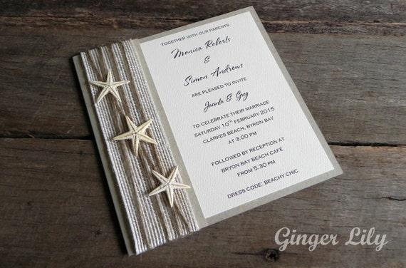 Wedding Invitations Kit: Rustic Beach Wedding Invitation DIY Kit By GingerLilyWeddings