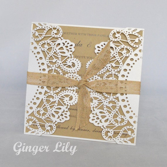 Wedding Invitation Diy Kits: Rustic Laser Cut DIY Wedding Invitation Kit By