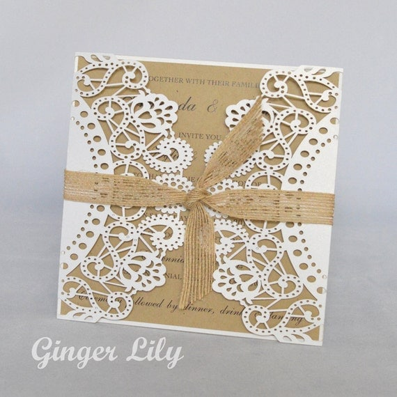 Diy Wedding Invitations Kits: Rustic Laser Cut DIY Wedding Invitation Kit By