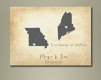 Vintage Map Wedding Guest Book - 2 states Map - Guest books - Wedding Poster- Wedding gift - Love knows no distance - Weddings - Custom Maps