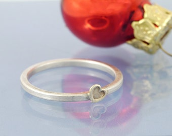 Golden Heart Stackable Ring Sterling Silver 585 Gold, Engagement Ring, ring collection
