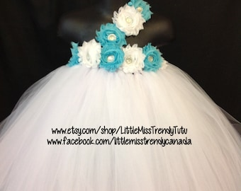 White Flower Girl tutu Dress, White Aqua Tutu Dress, White Aqua Flower Girl Tutu Dress, White Tutu Dress, Girls Tutu Dress, Flower Girl Tutu