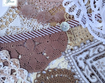 Handmade Vintage Wedding Bunting Garland - Crochet Doily Hanging - (Willow & Snowdrop) Brown Beige White Cream - Daisies Blue 5 metre length
