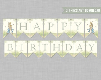 Story Book Rabbit Birthday Banner/Classic/Vintage DIY Printable Banner INSTANT DOWNLOAD