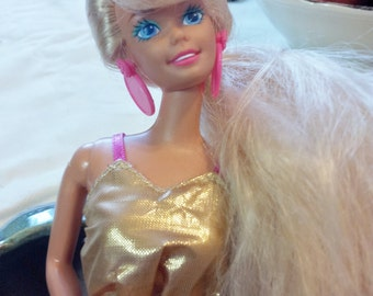 Barbie Doll Twist and Turn Long Blonde Hair With Bangs
