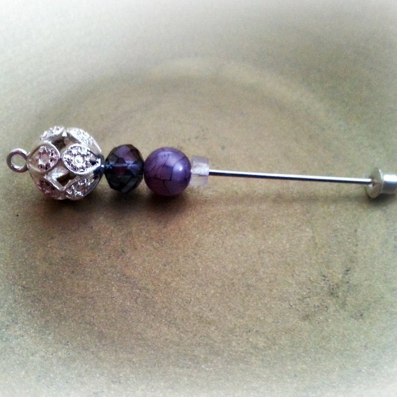 Beaded Stick 2 1/2 inch Hijab Pin or Hat Pin in Purple, White and Silver for Scrapbooking, Cards, Art & Clothing.Hijab Pins. Ships Worldwide