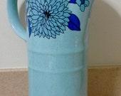 Mod Blue Floral Stoneware Lidded Coffee Carafe, Stoneware, Ceramic Pitcher, Pottery Carafe, Coffee Carafe, Blue Pitchers, Retro Kitchenware