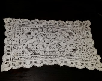 Vintage Hand Crocheted Placemat Doily