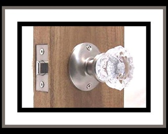 Crystal Glass Door Knob Sets + Our Original Wood Adaptors. For Modern Pre-Drilled Doors & Most Antique  Doors.