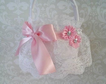 White Lace Flower Girl Baskets, Pink and White