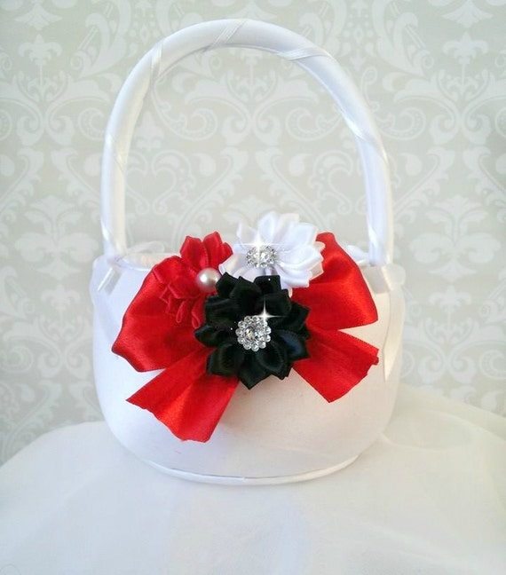 Red and white flower girl baskets olivero white red and black flower girl baskets mightylinksfo