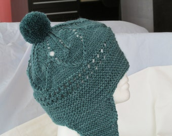 Ladies Winter Hat; Tuva Hat; Ladies Lacy Winter Hat; Winter Hat with Earflaps; Ladies Winter Helmut with PomPom; Wool Hat for Women