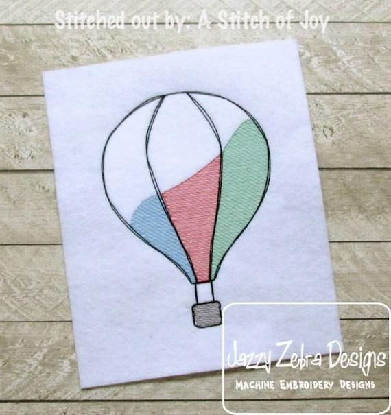 Hot Air Balloon Sketch Embroidery Design - balloon Sketch Embroidery Design