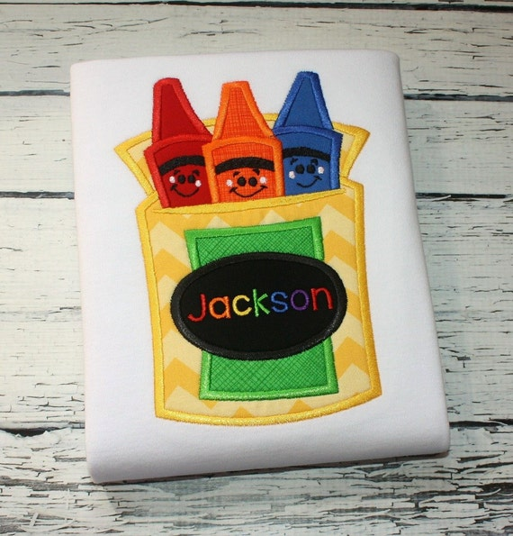 Crayons with Faces Appliqué embroidery Design - school appliqué design - crayon appliqué design - teacher appliqué design