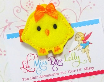 Embroidered Felt hair Clippie- Easter Chick Clippie- Chubby Chick Hair Clip- Spring Feltie Barrette- Yellow (Set of 1)